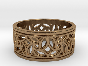 Gothic Pinwheel Tracery Ring (Open) in Natural Brass