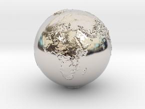 Earth Relief in Rhodium Plated Brass