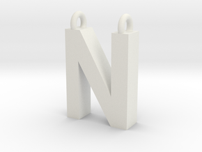 Alphabet (N) in White Natural Versatile Plastic