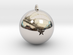 1 Star Dragon Ball Necklace Pendant in Rhodium Plated Brass