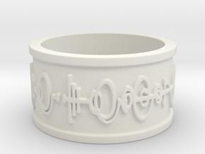 """""""Live Long & Prosper"""" Ring - Embossed Style in White Natural Versatile Plastic: 5 / 49"""