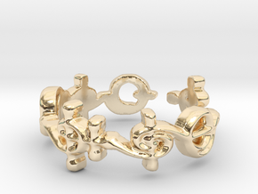"""T'hy'la"" Vulcan Script Ring - Cut Style in 14k Gold Plated Brass: 7 / 54"