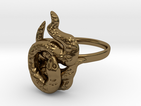Covetous Gold Serpent Ring, Size 8.5 in Polished Bronze