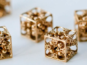 GOD's DICE - Pendant / Earring / Dice - 14mm in Raw Bronze