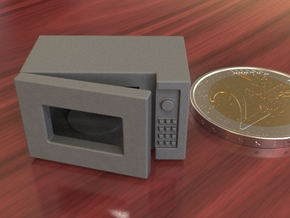 Dollhouse miniature microwave, 1:24 scale in Polished Metallic Plastic