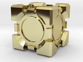 Companion Cube 10x10mm in 18k Gold