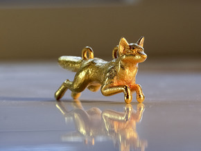Jumping Fox in Matte Gold Steel