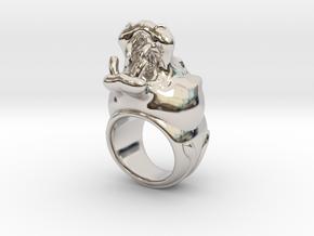 Hippopotamus ring in Rhodium Plated Brass