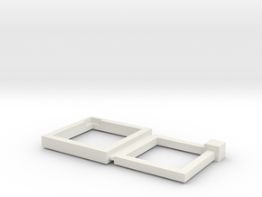 15+17mm Squared Connecting Rings in White Natural Versatile Plastic