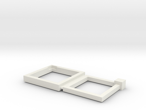16+18mm Squared Connecting Rings in White Natural Versatile Plastic