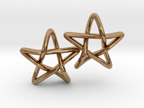 STAR earrings, PAIR in Polished Brass