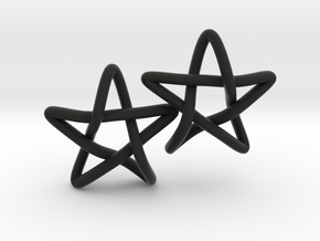 STAR earrings, PAIR in Black Natural Versatile Plastic