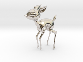 Baby Deer! in Rhodium Plated Brass