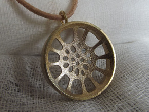 "High Tenor ""void"" steelpan pendant, M in Natural Brass"