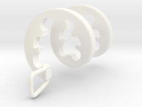Teddy Bear Spiral Pendant   in White Processed Versatile Plastic