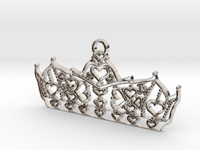 Queen of Hearts crown tiara charm or pendant 2mm t in Rhodium Plated Brass