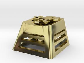 NERV Logo Backlit Keycap (R4, 1x1) in 18k Gold Plated Brass