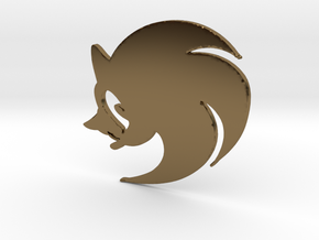 3D Sonic the Hedgehog Logo in Polished Bronze