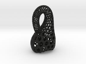 Two-Inch Klein Bottle in Black Natural Versatile Plastic