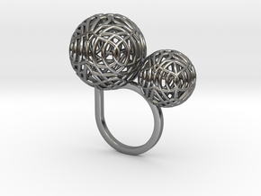 2 Polyps ring--singlefinger ring in Fine Detail Polished Silver