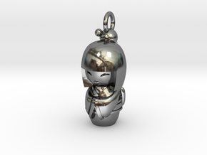 Japanese Doll in Fine Detail Polished Silver