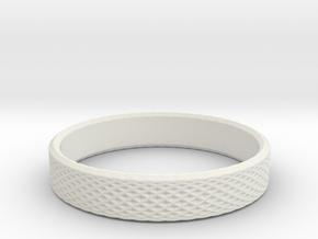 0225 Lissajous Figure Ring (Size14.5, 23.4 mm)#030 in White Natural Versatile Plastic