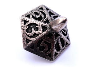 Top d6 in Polished Bronzed Silver Steel