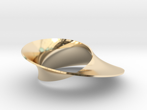Mobius strip minimal surface in 14k Gold Plated Brass: Small