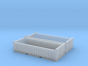 N Scale 20ft Open Top Container Half Height (2pc W in Smooth Fine Detail Plastic