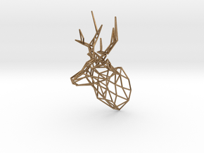 Small Stag Head Facing Right 75mm 1:12 Scale in Natural Brass