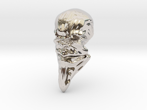 Skull-031 scale in 3cm Passed in Rhodium Plated Brass