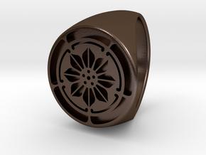 Custom Signet Ring 5 in Polished Bronze Steel