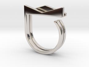 Adjustable ring. Basic set 2. in Rhodium Plated Brass