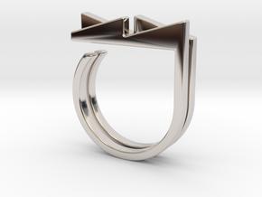 Adjustable ring. Basic set 3. in Rhodium Plated Brass