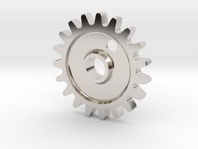 Cog Gear Key Chain / Pendant in Rhodium Plated Brass