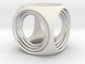 Large Gyro Cube- 4'' in White Natural Versatile Plastic