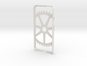 Iphone 6 Case- Cog pattern in White Strong & Flexible