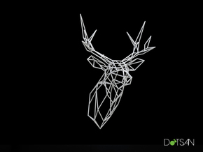 XL Stag Deer Trophy Head Facing Ahead in White Natural Versatile Plastic