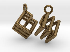 Ring-in-a-Cube Ear Rings in Natural Bronze
