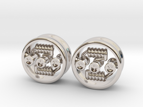 "NEW! RDA PLUG STYLE EARRINGS 5/8"" (Pair) in Rhodium Plated Brass"
