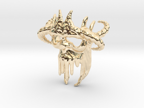 Skull-028-new scale in 3cm Passed in 14k Gold Plated Brass