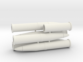 1/18 scale 105mm Howitzer shells in White Natural Versatile Plastic