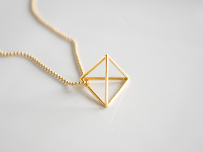 Tetrahedron pendant in 18k Gold Plated Brass