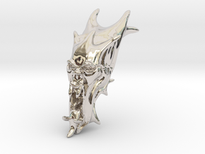 Skull-025 scale in 3cm Passed in Rhodium Plated Brass