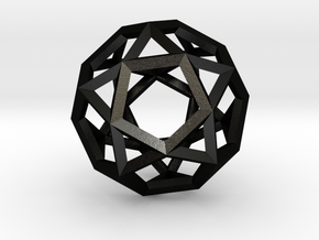 Icosi Dodecahedron(Leonardo-style model) in Matte Black Steel