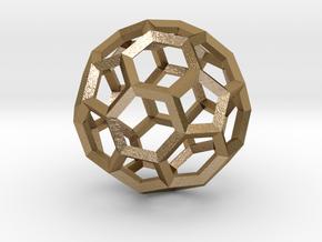 Truncated Icosahedron(Leonardo-style model) in Polished Gold Steel