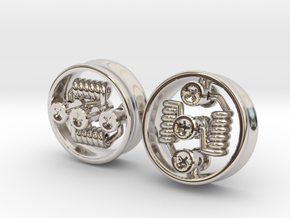 """NEW 1"""" RDA PLUGS PAIR - CHEAPEST OPTION! in Rhodium Plated Brass"""
