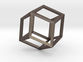 Rhombic Dodecahedron(Leonardo-style model) in Polished Bronzed Silver Steel