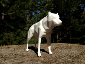 14cm Low Poly Wolf Statue in White Strong & Flexible Polished