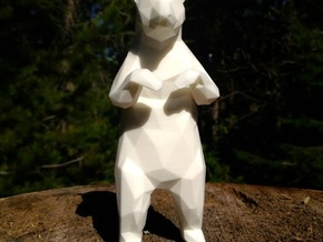 14cm Low Poly Bear Statue in White Strong & Flexible